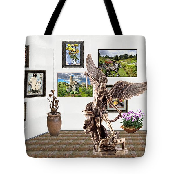 Tote Bag featuring the mixed media digital exhibition _  sculpture of a Angels and Demons  by Pemaro
