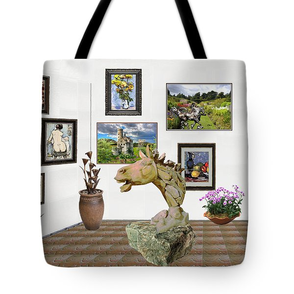 Tote Bag featuring the mixed media Digital Exhibition _  Sculpture Of A Horse by Pemaro