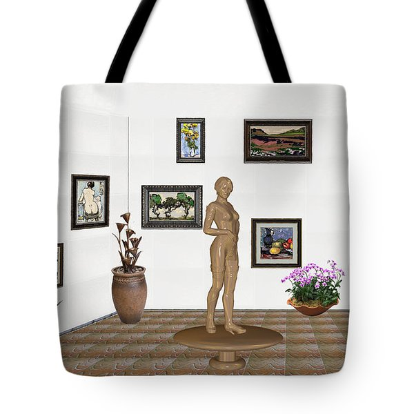 digital exhibition _ Statue of a Statue 22 of posing lady  Tote Bag by Pemaro