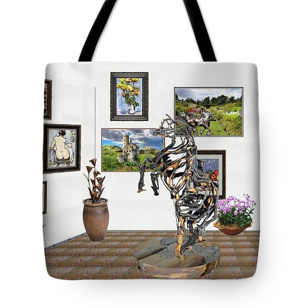 Tote Bag featuring the mixed media Digital Exhibition _ Statue Of Branches by Pemaro