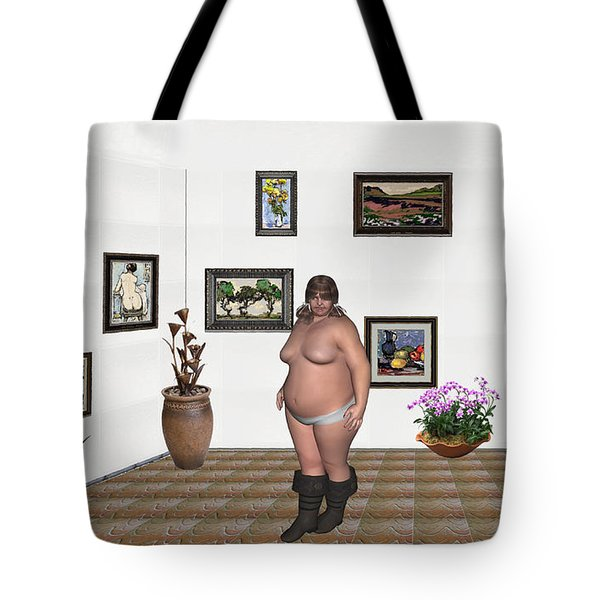Tote Bag featuring the mixed media Digital Exhibition  22 Of Posing Lady  by Pemaro