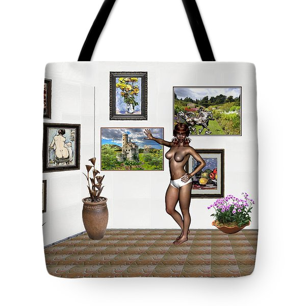 Tote Bag featuring the mixed media digital exhibition 32 _ posing  Girl 32  by Pemaro