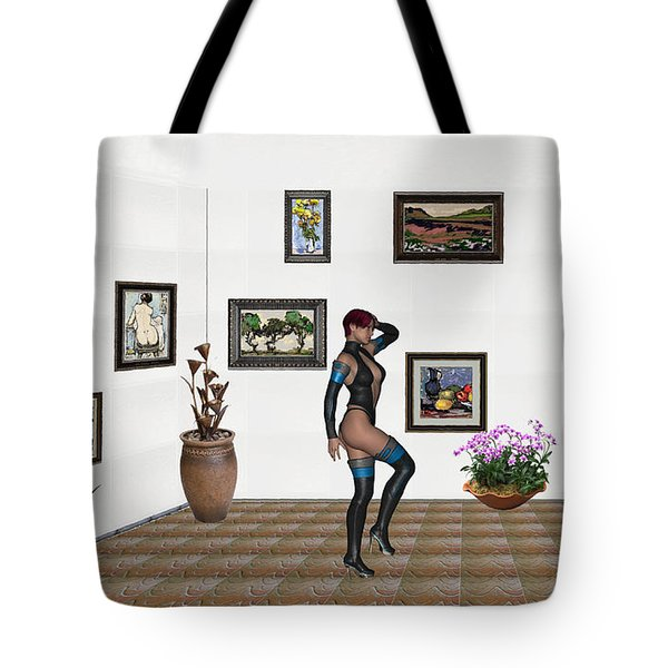 Tote Bag featuring the mixed media digital exhibition 32  posing  Girl  by Pemaro