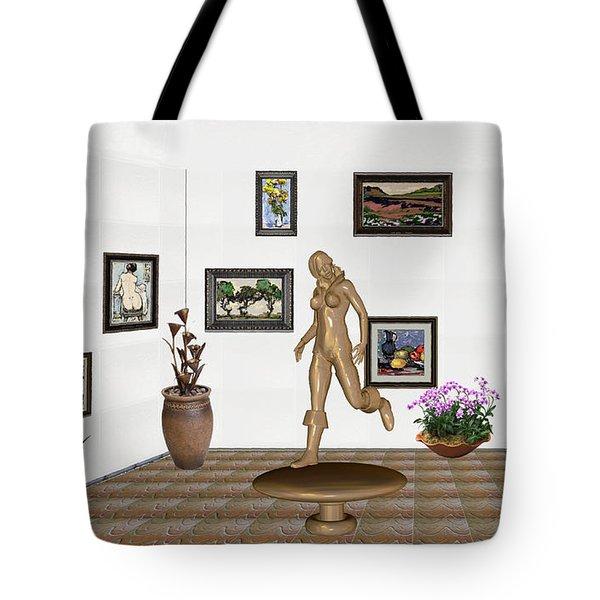 digital exhibition   sculpture of  posing  Girl 32  Tote Bag