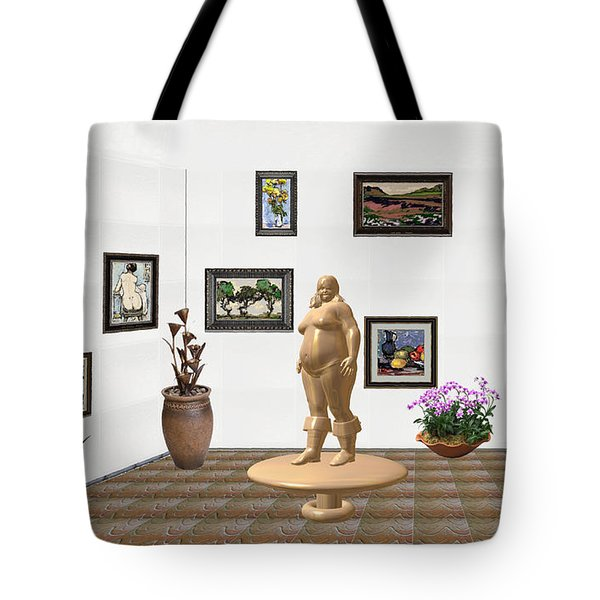 Tote Bag featuring the mixed media digital exhibition  Statue 22 of posing lady  by Pemaro