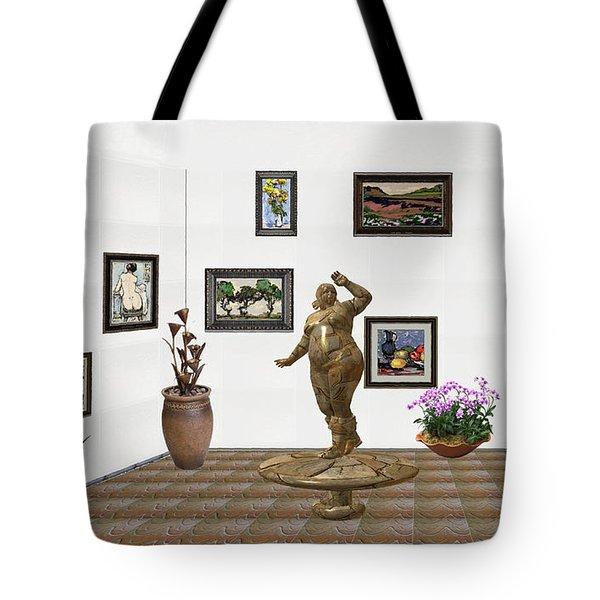 digital exhibition  Statue 25 of posing lady  Tote Bag by Pemaro