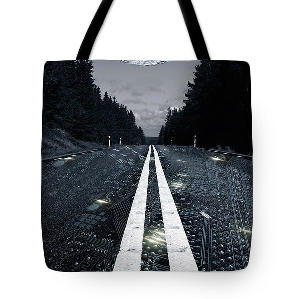 Digital Highway And A Full Moon Tote Bag