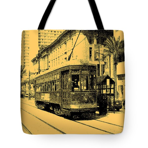Digital Ink Pen Drawing New Orleans Street Car Tote Bag