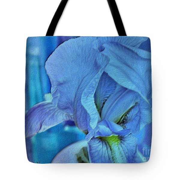 Tote Bag featuring the mixed media Digital Iris by Marsha Heiken