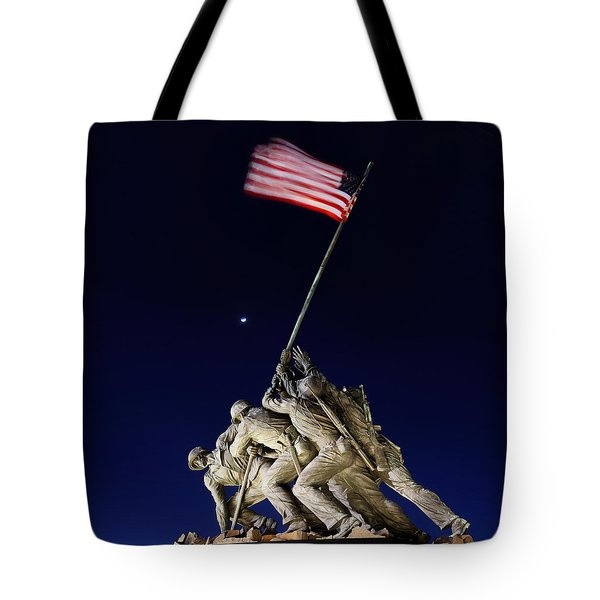 Digital Liquid - Iwo Jima Memorial At Dusk Tote Bag
