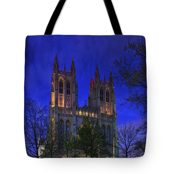 Digital Liquid - Washington National Cathedral After Sunset Tote Bag