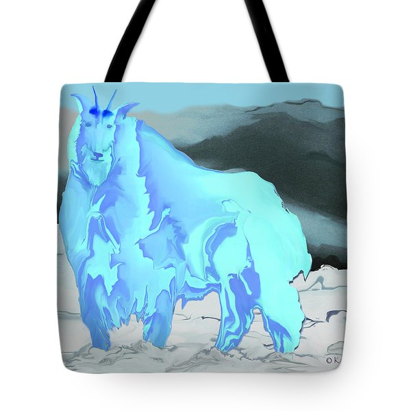 Tote Bag featuring the digital art Digital Mountain Goat 2 by Kae Cheatham
