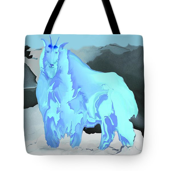 Tote Bag featuring the digital art Digital Mountain Goat by Kae Cheatham