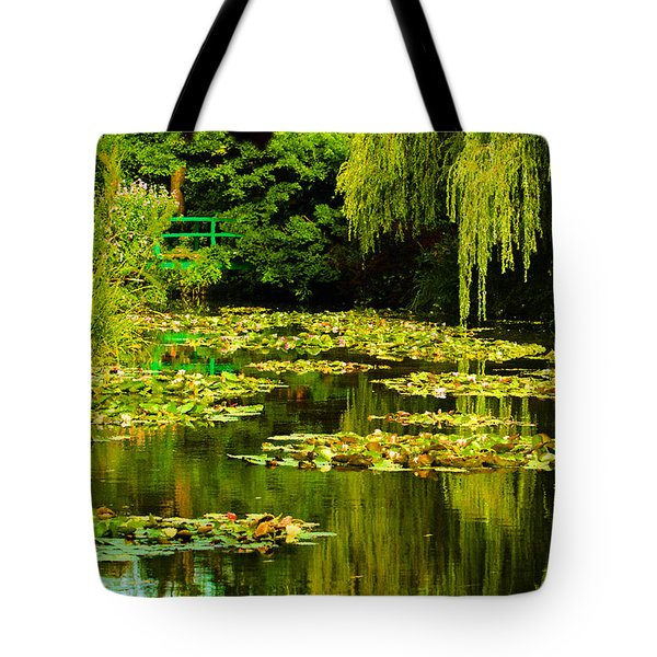 Tote Bag featuring the photograph Digital Paining Of Monet's Water Garden  by MaryJane Armstrong