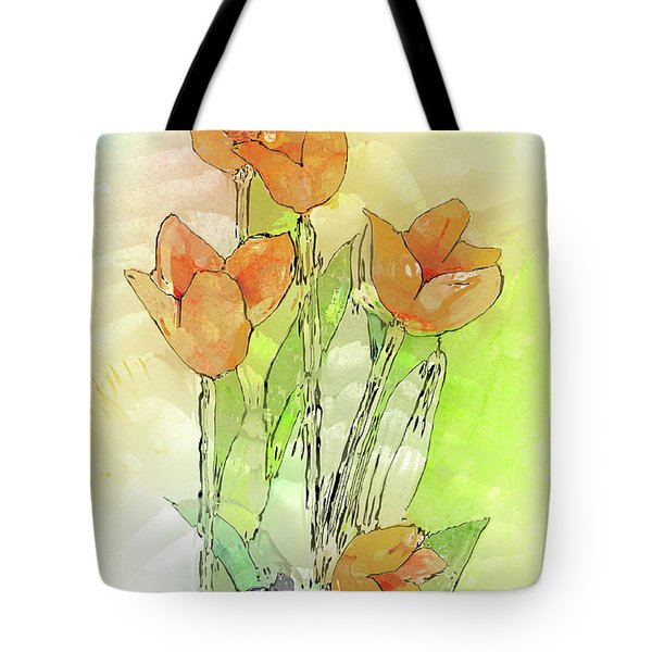Digital Tulips Tote Bag by Arline Wagner