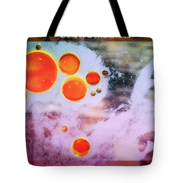 Tote Bag featuring the photograph Digital Virus Orange One Bubbles by John Williams