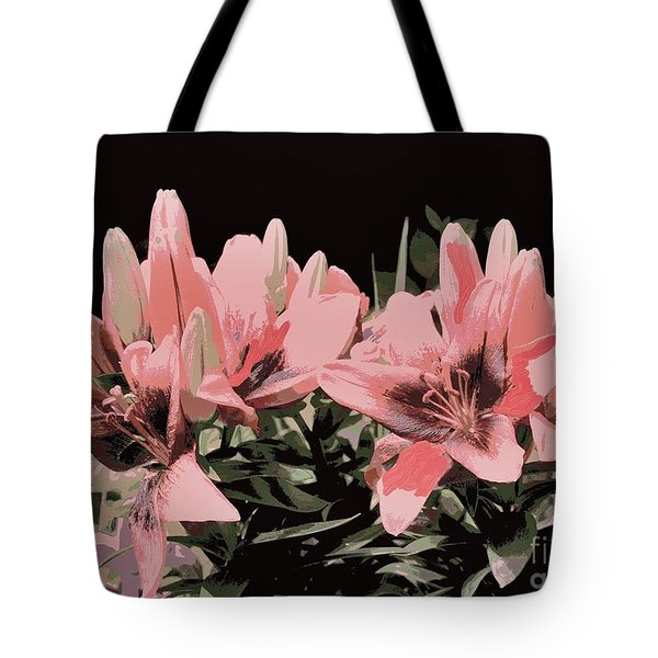 Digitalized Lilies Tote Bag