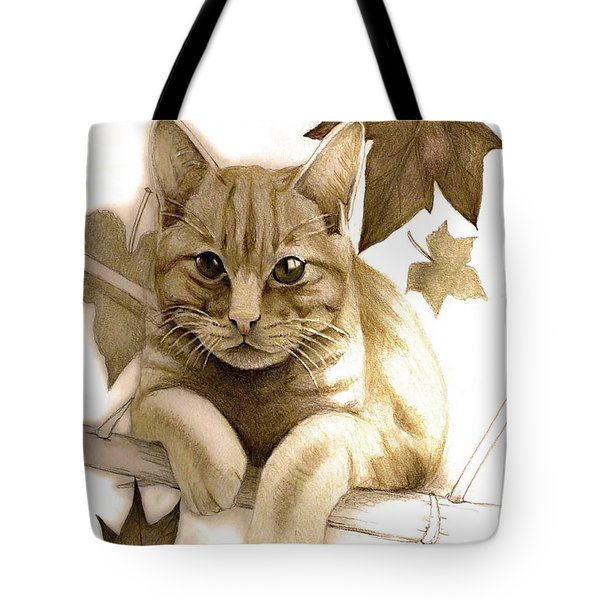 Digitally Enhanced Cat Image Tote Bag