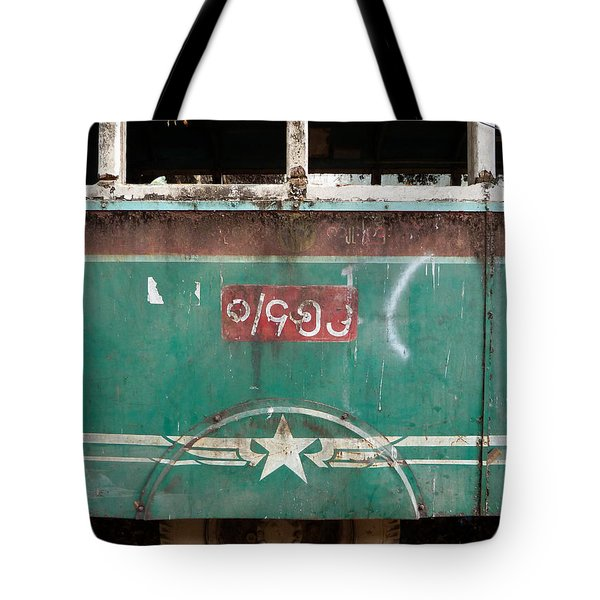 Dilapidated Vintage Green Bus In Burma - Side View With Tire Tote Bag