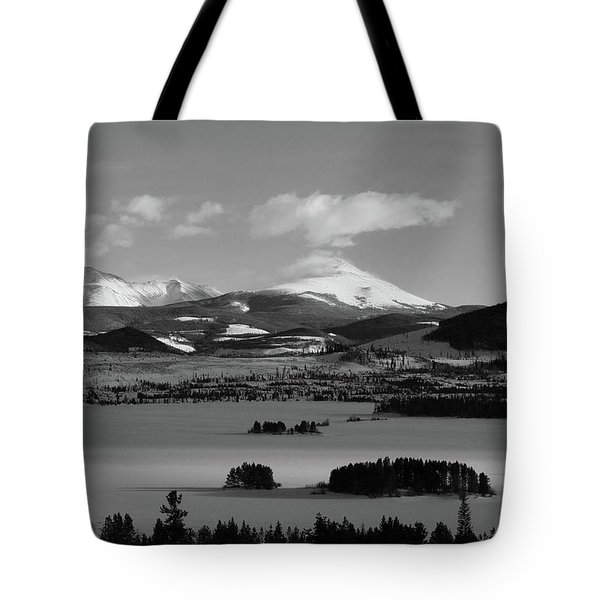 Tote Bag featuring the photograph Dillon In Winter Bw by Marie Leslie