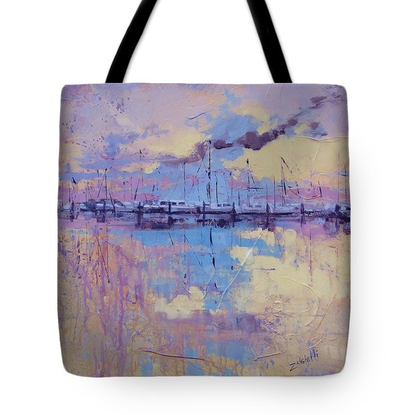 Tote Bag featuring the painting Dimensions  by Laura Lee Zanghetti