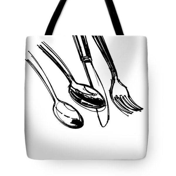 Diner Drawing Spoons, Knife, And Fork Tote Bag by Chad Glass