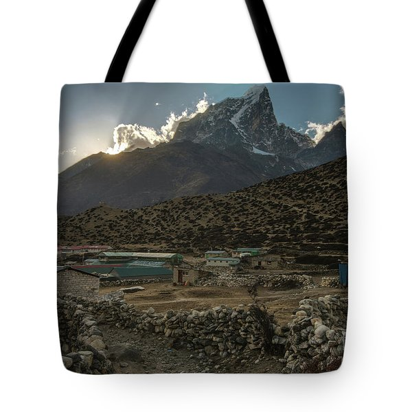 Tote Bag featuring the photograph Dingboche Evening Sunrays by Mike Reid