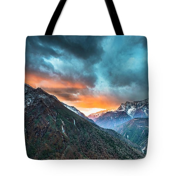 Tote Bag featuring the photograph Dingboche Sunrise by Dan McGeorge