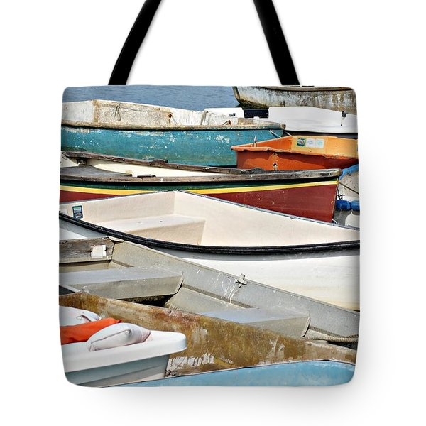 Dinghys At Bearskin Neck Tote Bag by Joe Faherty