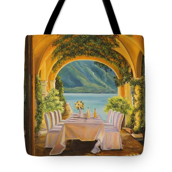 Dining On Lake Como Tote Bag by Charlotte Blanchard