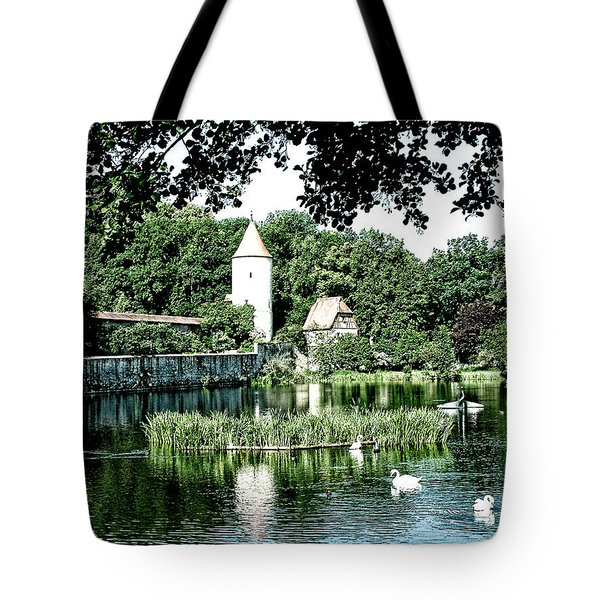 Dinkelsbuhl And Rothenburg Pond Tote Bag
