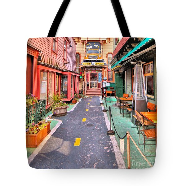 Tote Bag featuring the photograph Dink's Taxi Bar Harbor by Debbie Stahre