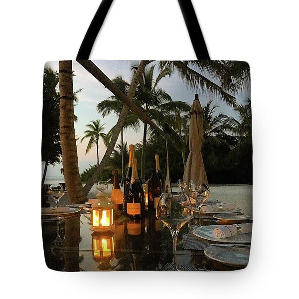 Dinner At The Beach Tote Bag