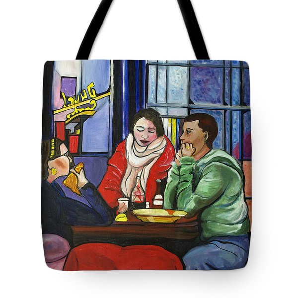 Tote Bag featuring the painting Dinner In Dam by Patricia Arroyo