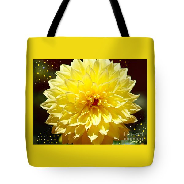 Dinner Plate Dahlia In Starry Sky Tote Bag