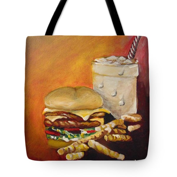 Tote Bag featuring the painting Dinner Time by Saundra Johnson