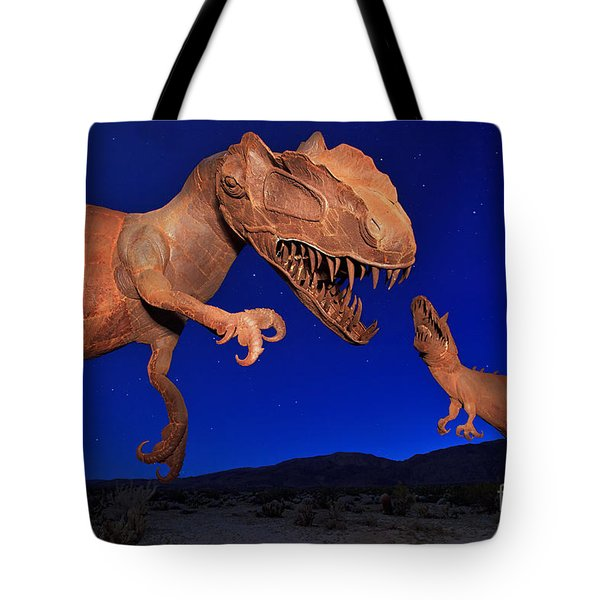 Tote Bag featuring the photograph Dinosaur Battle In Jurassic Park by Sam Antonio Photography