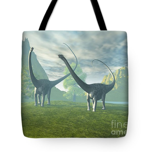 Dinosaur Land Tote Bag by Corey Ford