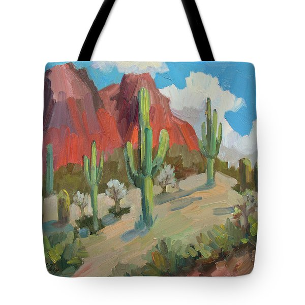 Tote Bag featuring the painting Dinosaur Mountain by Diane McClary