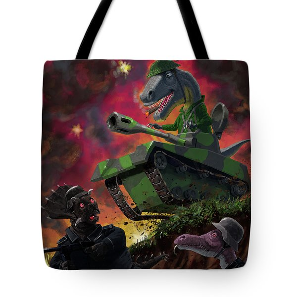 Tote Bag featuring the painting Dinosaur War 01 by Martin Davey