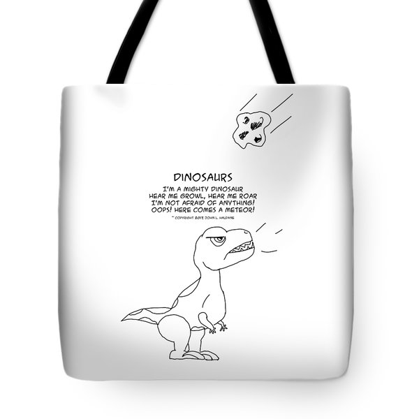 Tote Bag featuring the drawing Dinosaurs by John Haldane