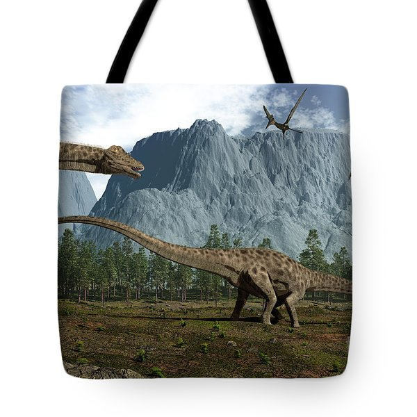 Diplodocus Dinosaurs Graze While Tote Bag by Walter Myers