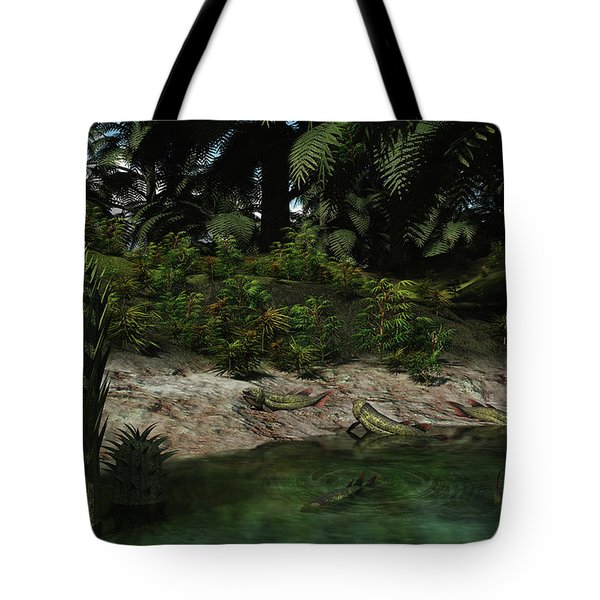 Dipterus Fish Emerge From A Devonian Tote Bag by Walter Myers
