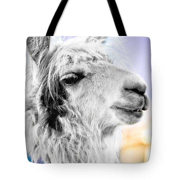 Tote Bag featuring the photograph Dirtbag Llama by TC Morgan