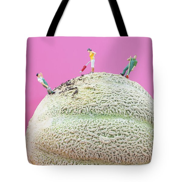 Tote Bag featuring the painting Dirty Cleaning On Sweet Melon II Little People On Food by Paul Ge