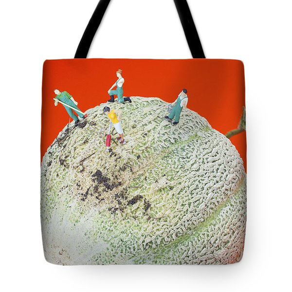 Tote Bag featuring the painting Dirty Cleaning On Sweet Melon Little People On Food by Paul Ge