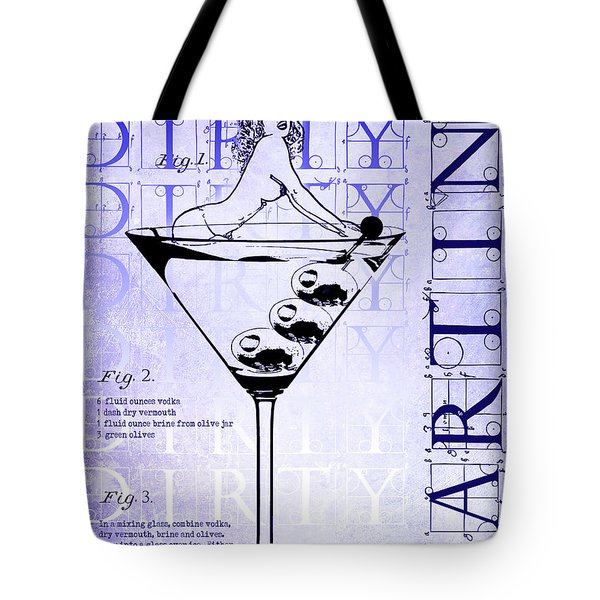 Dirty Dirty Martini Patent Blueprint Tote Bag by Jon Neidert