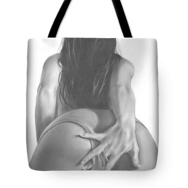 Tote Bag featuring the drawing Dirty Lil Secret by Pete Tapang