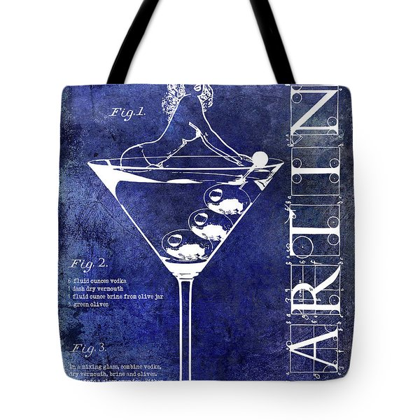Dirty Martini Patent Blue Tote Bag by Jon Neidert