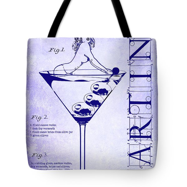 Dirty Martini Patent Blueprint Tote Bag by Jon Neidert